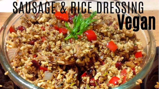 Vegan Holiday Recipe: Sausage & Rice Dressing (Gluten Free Stuffing)