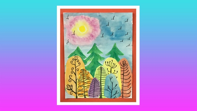 Sunset Watercolor Collage - Grades 4-6