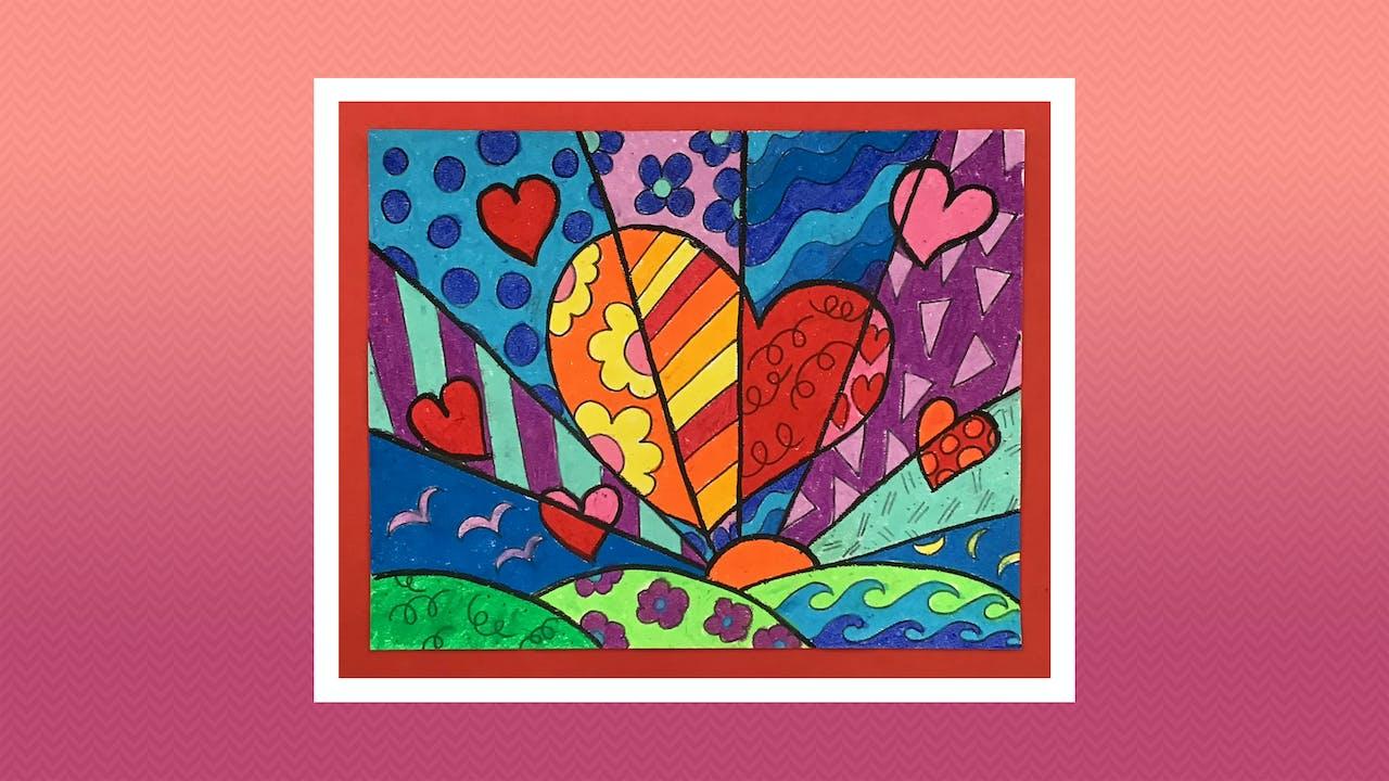 Romero Britto Inspired Heart - Grades K-2