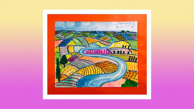 David Hockney Watercolor Landscape - ...