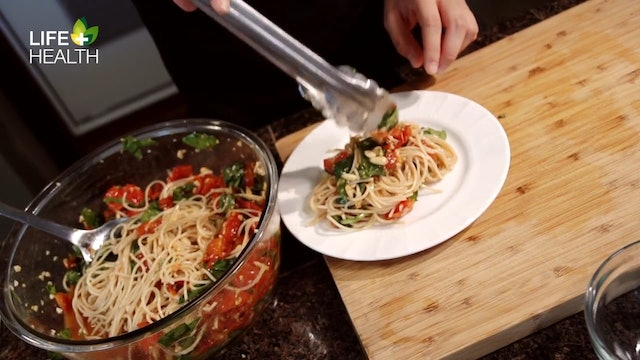 Roasted Tomato Spinach and Basil Pasta