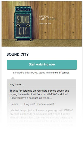 Sound City movie thank you receipt