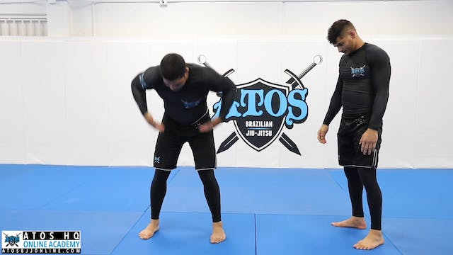 Front choke defense with hip throw