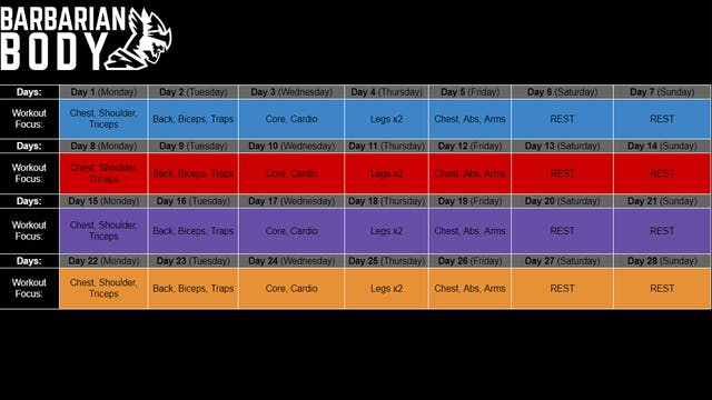 Dumbbell LITE 2.0 Schedule