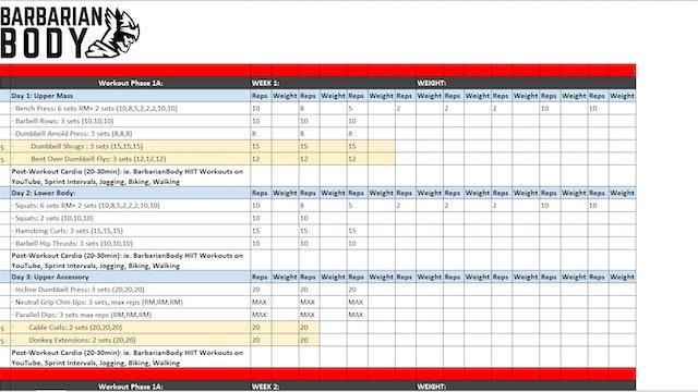 Lean Bulking Program Schedule