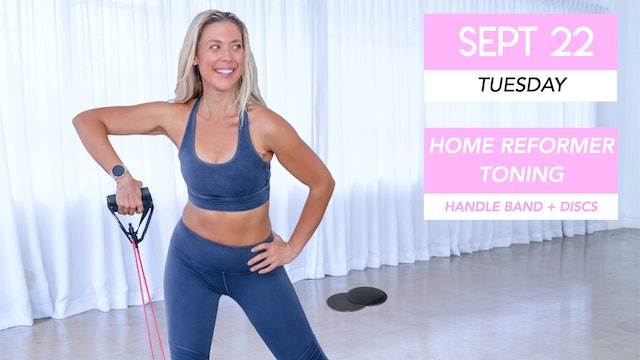 SEPT 22 - NEW AT-HOME PILATES REFORMER CLASS (GLIDERS AND HANDLE BAND)