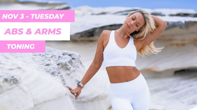 NOV 3 - 30 MINUTE TIGHT ABS + TONED ARMS MAT PILATES WORKOUT (NO EQUIPMENT)