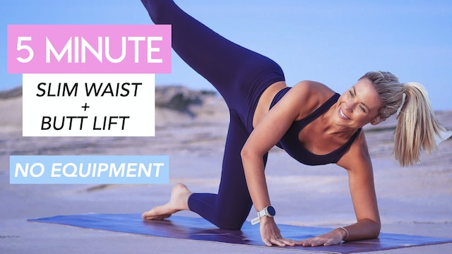 5 MIN SLIM WAIST and BUTT LIFT WORKOUT (NO EQUIPMENT)