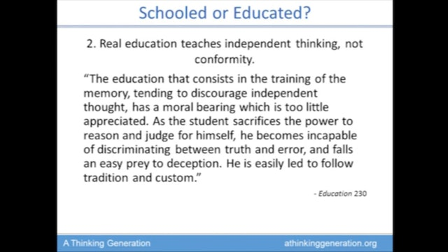 The Classroom of the Remnant, 3 - Schooled or Educated?
