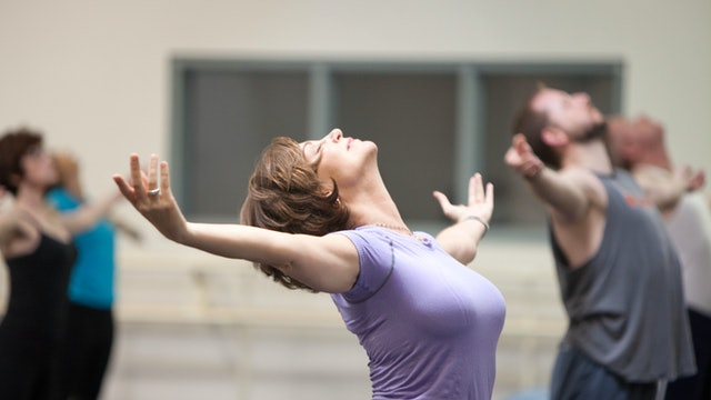 Side Stretch with Plié and Open Heart with Arms