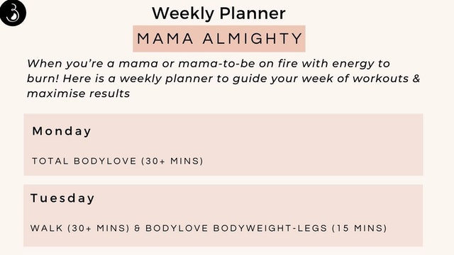 Mama Almighty Weekly Workout Planner