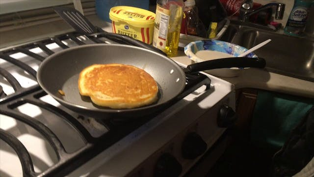 Pancake set up and conversation