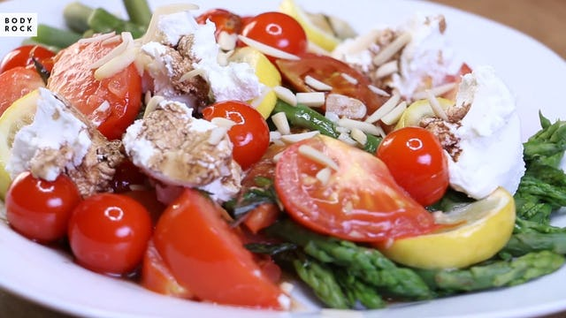Tomato Asparagus Goat Cheese Salad