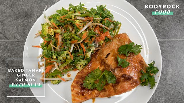Baked Tamari Ginger Salmon With Slaw