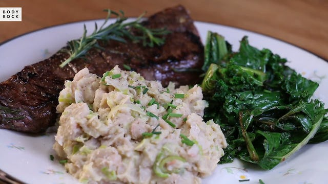 Rosemary Steak With White Bean Mash