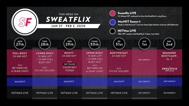 This week on Sweatflix: Jan 27th - Feb 2nd