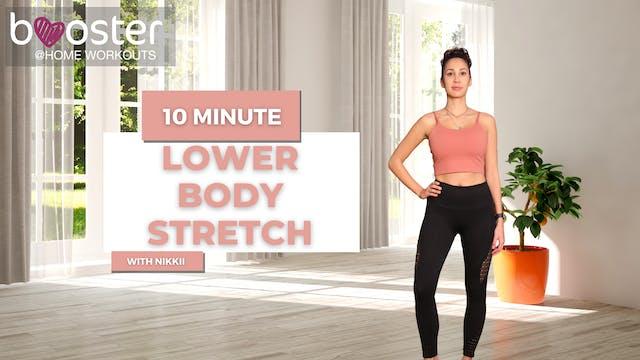 10' lower body stretch, in a bright space