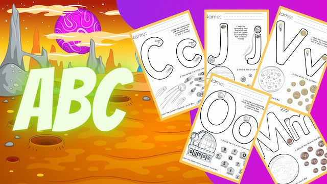 Alphabet Space Worksheets A-Z