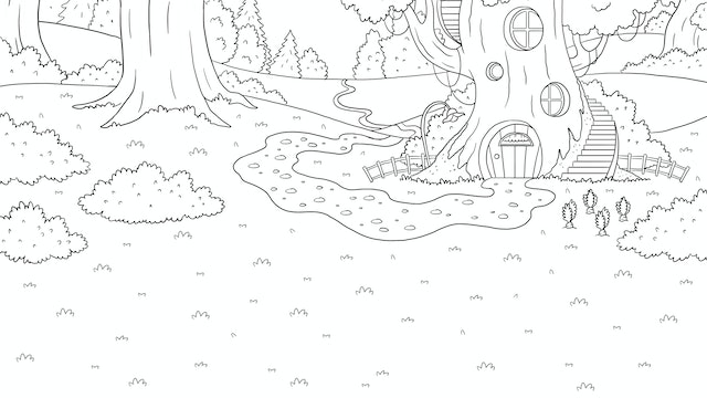 Rabbit House - Colouring In Sheet