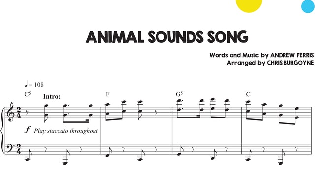 Animal Sounds Song Sheet Music