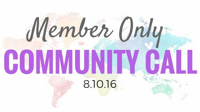 Community Call 8.8.16