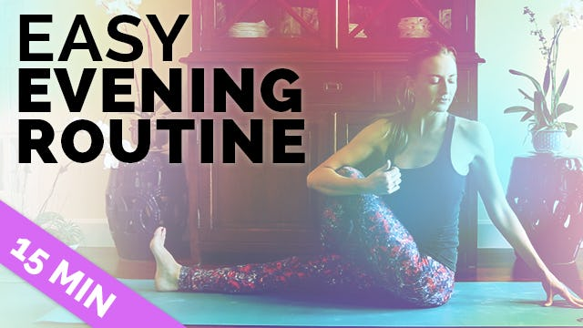 Easy Nighttime Yoga + Meditation in 15 Min for After Work or Before Bed (15 min)