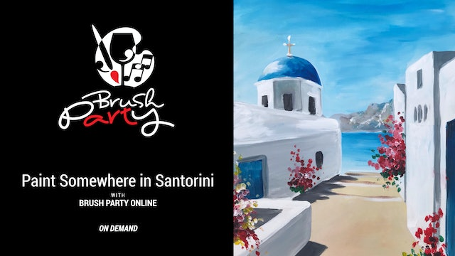 Paint Somewhere in Santorini with Brush Party Online