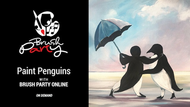 Paint 'Penguins' in the style of Vettriano with Brush Party Online