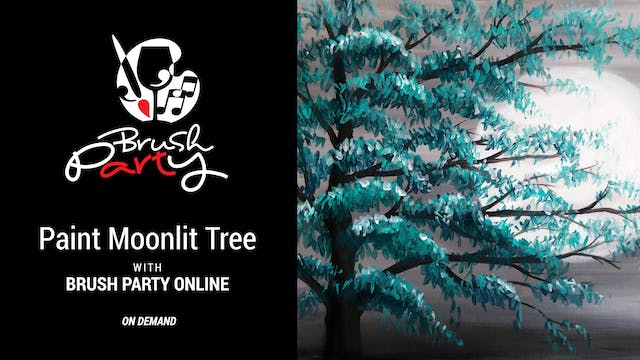 Paint Moonlit Tree with Brush Party O...
