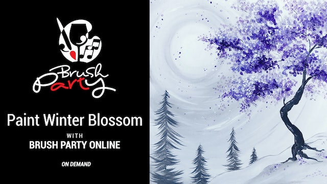 Paint 'Winter Blossom' with Brush Party Online