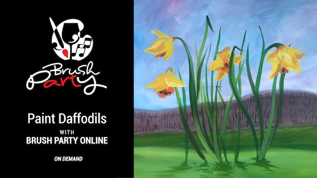 Paint 'Daffodils' in the style of David Hockney with Brush Party Online