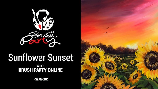Paint Sunflower Sunset with Brush Party Online
