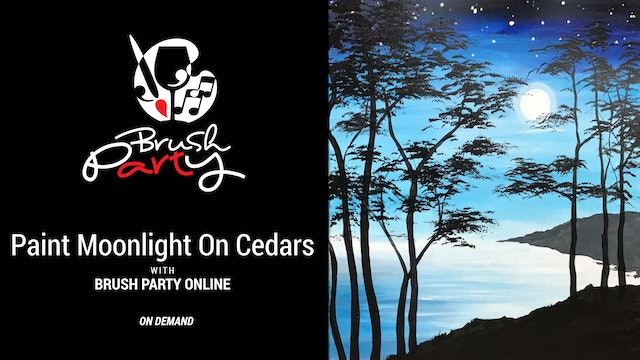 Paint Moonlight on Cedars with Brush Party Online