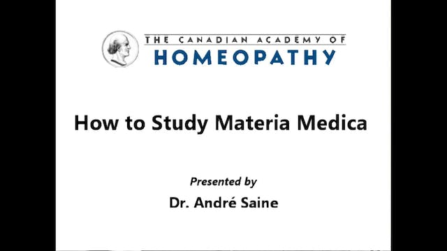How to Study Materia Medica Part 1