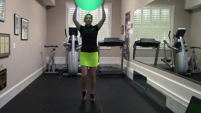 1-minute Jog with Exercise Ball Above Head