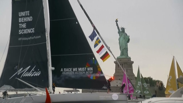 After sail across the Atlantic,climate activist Greta Thunberg docks in New York