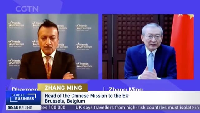 China's EU ambassador Zhang Ming prai...