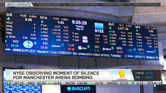 NYSE Holds Moment of Silence for Manc...