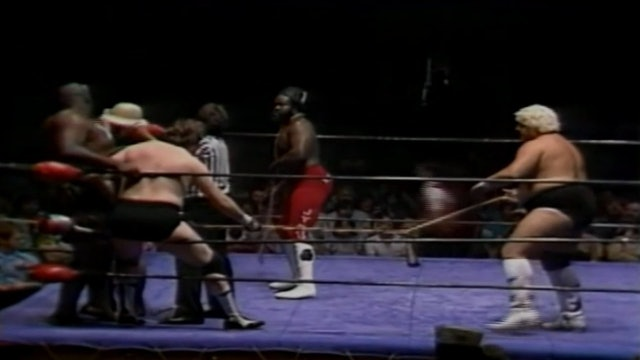 Dusty Rhodes & Junkyard Dog vs. Ted Dibiase & Kamala ( Bull Rope_Chain Match)