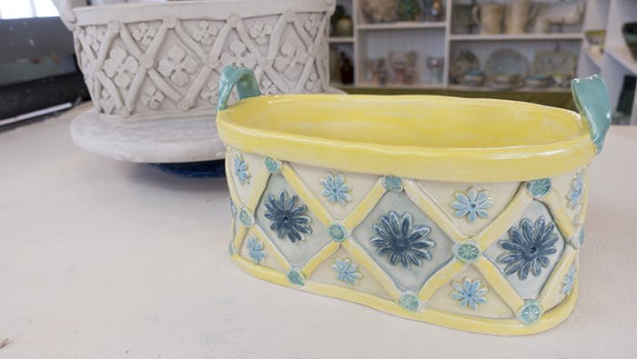 Ceramic Fruit Bowl or Candy Dish Large Wheel Thrown Pottery Planter made with Food Safe Clay and Glazes