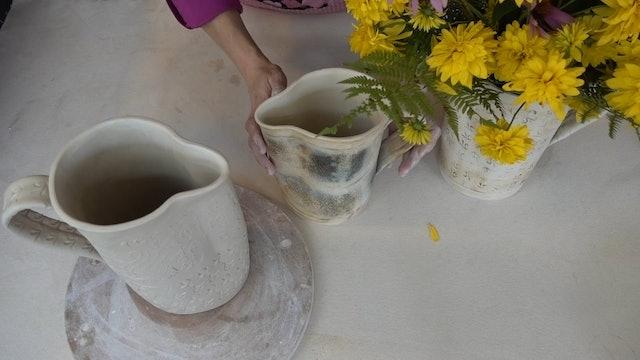 Flower Pitcher 09 Dry, Glaze, Fire