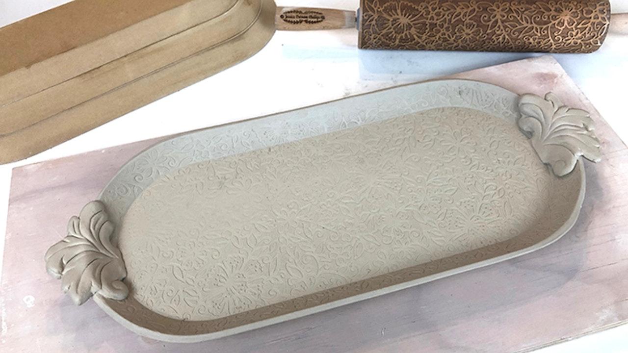 Sprig Handled Platter
