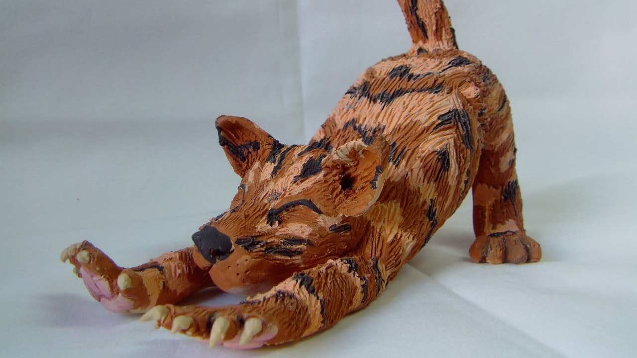 Stretching Kitty Sculpture