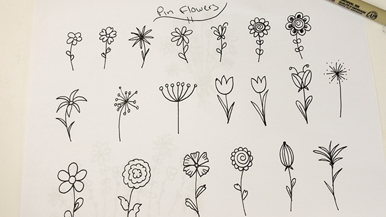Drawing Pin Flowers
