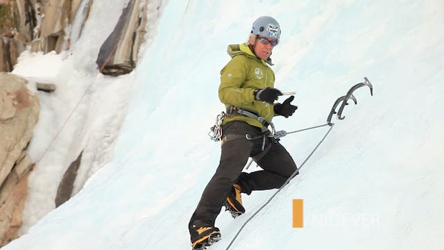Ice Climbing: 12. Hooking the Lead Rope on the Ice Tool