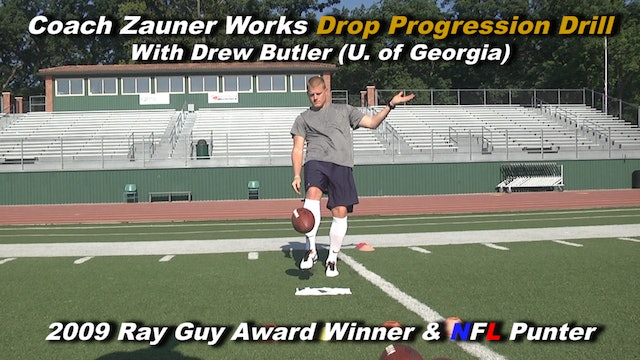 #6 Coach Zauner Works Drop Progression Drill with Drew Butler 2009 Ray Guy Award
