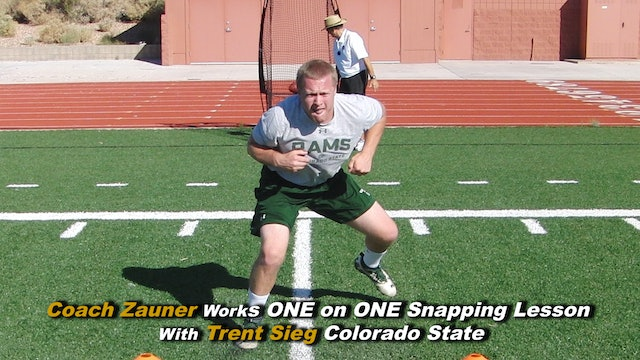 #10 Coach Zauner Works ONE on ONE Snapping Lesson with Trent Sieg Colorado State