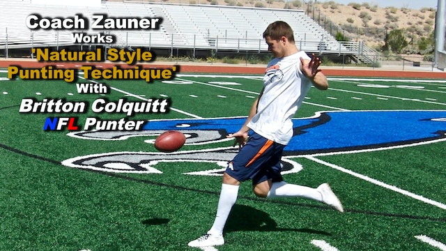 #10 Coach Zauner's ONE on ONE Punting Lesson with Britton Colquitt, NFL Punter