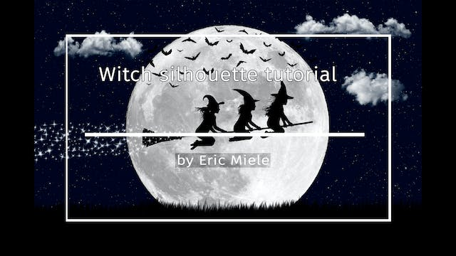 Witch on broomstick silhouette tutori...