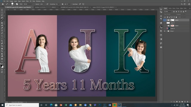 Mixing text and people in photoshop trailer by Eric Miele JANUARY 2021